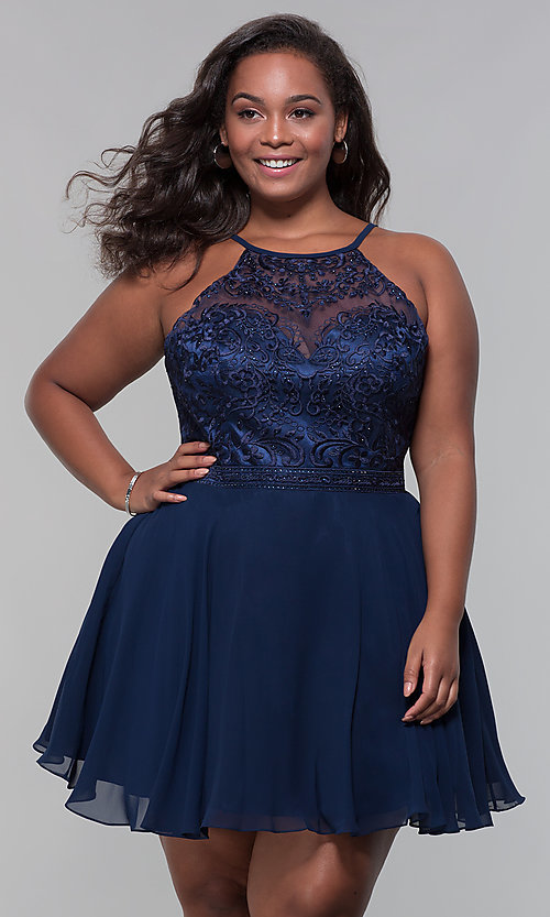 Image of short chiffon plus-size homecoming party dress. Style: DQ-PL-3008P Detail Image 4