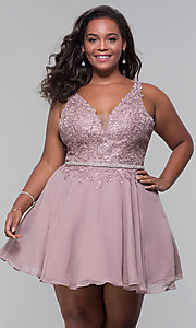 Image of beaded-belt plus-size short mocha homecoming dress. Style: DQ-PL-3011P Front Image