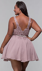 Image of beaded-belt plus-size short mocha homecoming dress. Style: DQ-PL-3011P Back Image