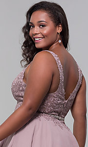 Image of beaded-belt plus-size short mocha homecoming dress. Style: DQ-PL-3011P Detail Image 2