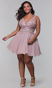 Image of beaded-belt plus-size short mocha homecoming dress. Style: DQ-PL-3011P Detail Image 3