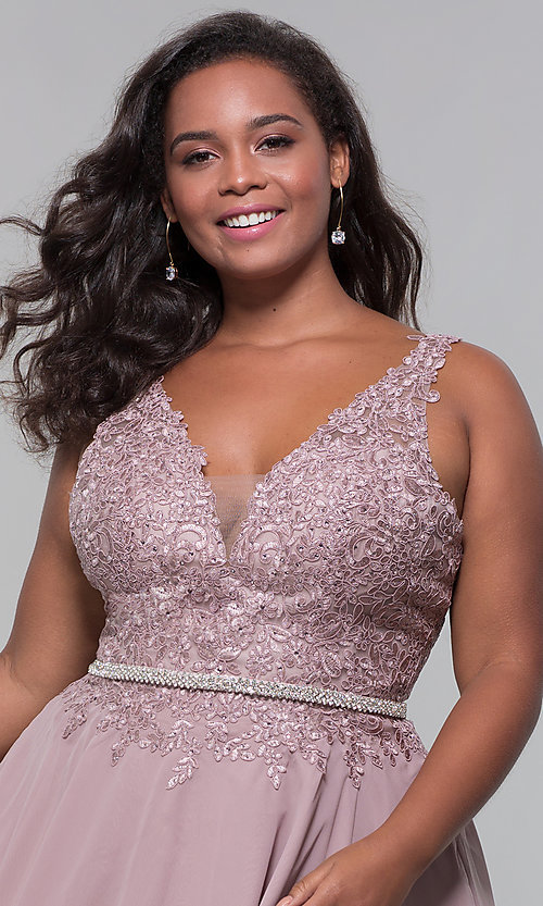 Image of beaded-belt plus-size short mocha homecoming dress. Style: DQ-PL-3011P Detail Image 1