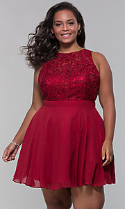 Image of short chiffon plus-size homecoming dress with shawl. Style: DQ-PL-3012P Front Image