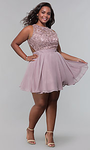 Image of short chiffon plus-size homecoming dress with shawl. Style: DQ-PL-3012P Detail Image 5