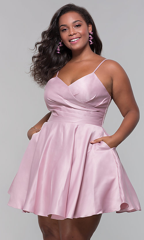 Image of plus-size short satin homecoming dress with pockets. Style: DQ-PL-3059P Detail Image 4