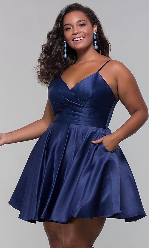 Image of plus-size short satin homecoming dress with pockets. Style: DQ-PL-3059P Front Image