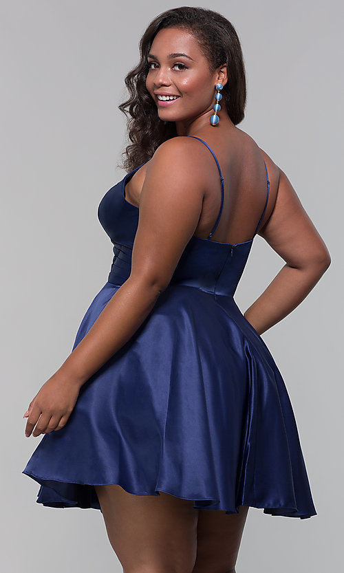 Image of plus-size short satin homecoming dress with pockets. Style: DQ-PL-3059P Back Image