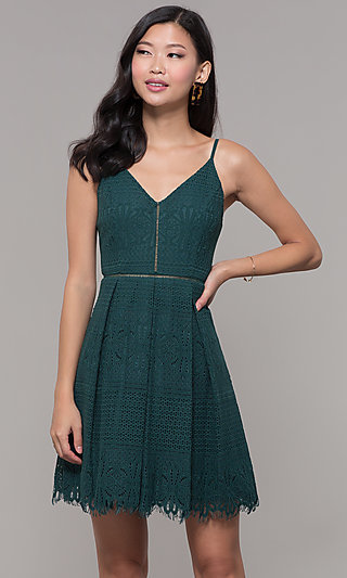 Holiday Party Short Lace V-Neck Dress