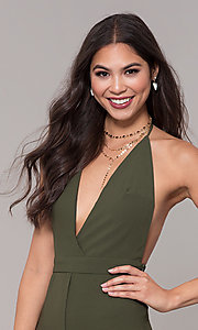 Image of holiday party halter jumpsuit with deep v-neckline. Style: LUX-LJP4883 Detail Image 6