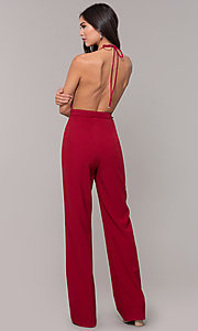 Image of holiday party halter jumpsuit with deep v-neckline. Style: LUX-LJP4883 Back Image