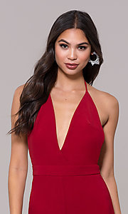 Image of holiday party halter jumpsuit with deep v-neckline. Style: LUX-LJP4883 Detail Image 1
