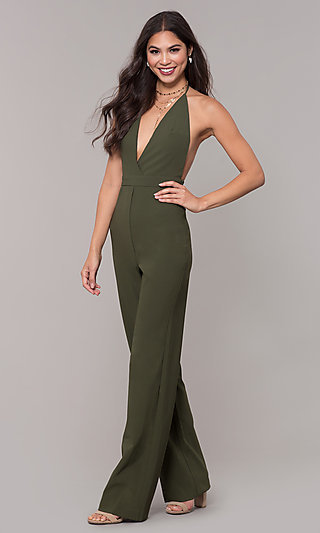 Holiday Party Halter Jumpsuit with Deep V-Neckline