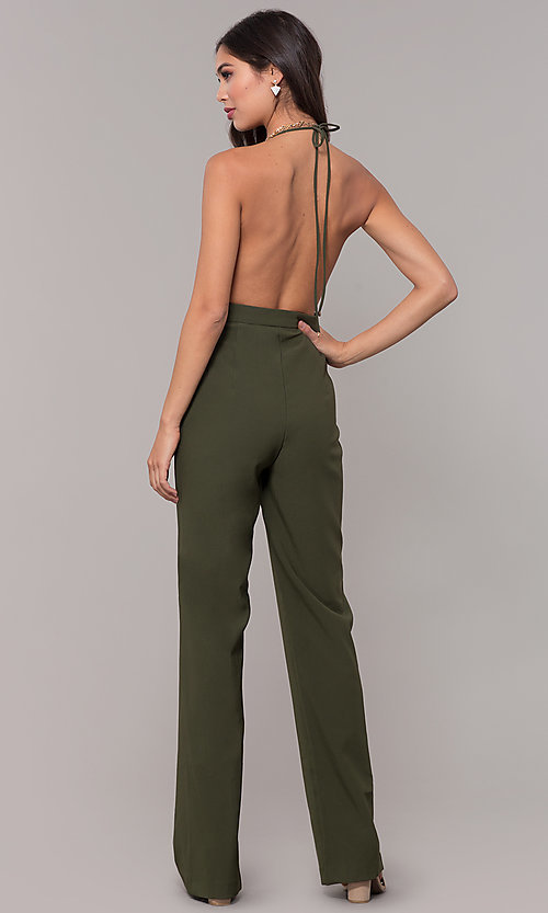 Image of holiday party halter jumpsuit with deep v-neckline. Style: LUX-LJP4883 Detail Image 5