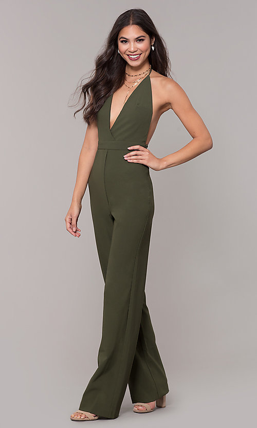 Image of holiday party halter jumpsuit with deep v-neckline. Style: LUX-LJP4883 Detail Image 4