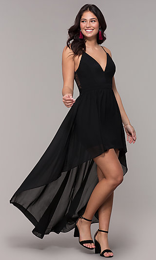 Lace Back V-Neck High Low Wedding Guest Dress