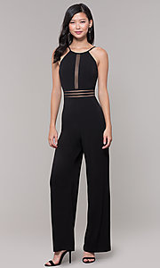 Image of wide-leg black party jumpsuit for wedding guests. Style: CT-8415TP3BT3 Front Image