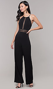 Image of wide-leg black party jumpsuit for wedding guests. Style: CT-8415TP3BT3 Detail Image 3