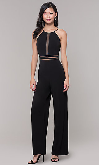 Wide-Leg Black Party Jumpsuit for Wedding Guests