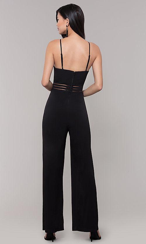Image of wide-leg black party jumpsuit for wedding guests. Style: CT-8415TP3BT3 Back Image