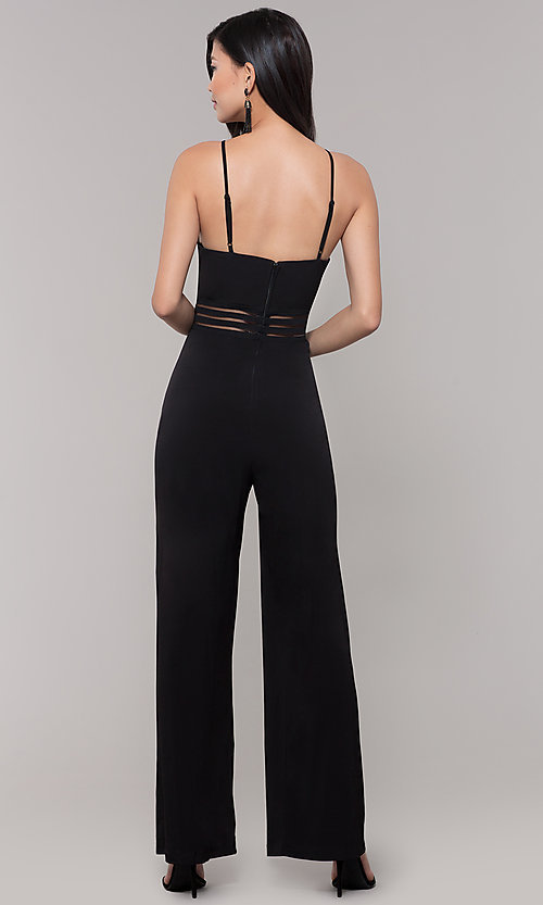 Image of wide-leg black party jumpsuit for wedding guests. Style: CT-8415TP3BT3 Detail Image 1