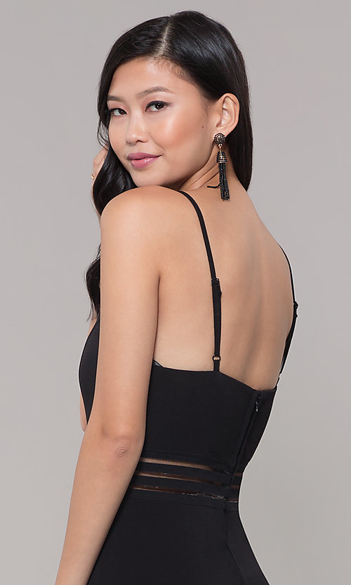 Image of wide-leg black party jumpsuit for wedding guests. Style: CT-8415TP3BT3 Detail Image 2