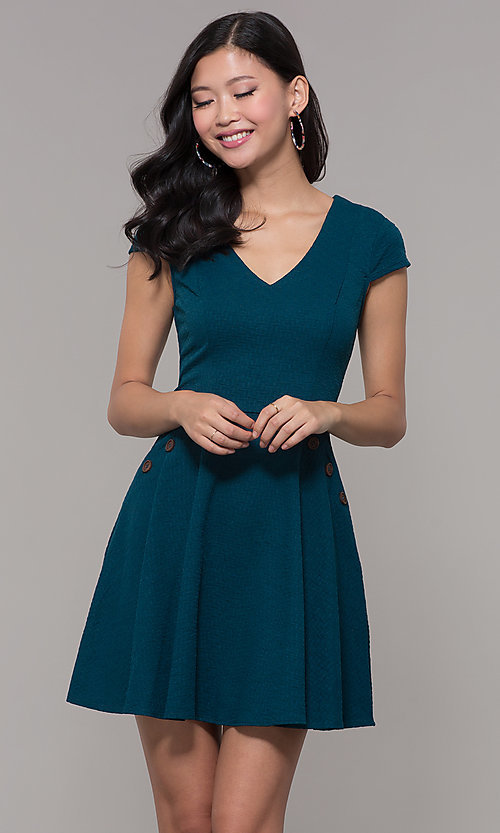 Image of cap sleeve short casual party dress.  Style: CT-1901SJ6BT1 Front Image