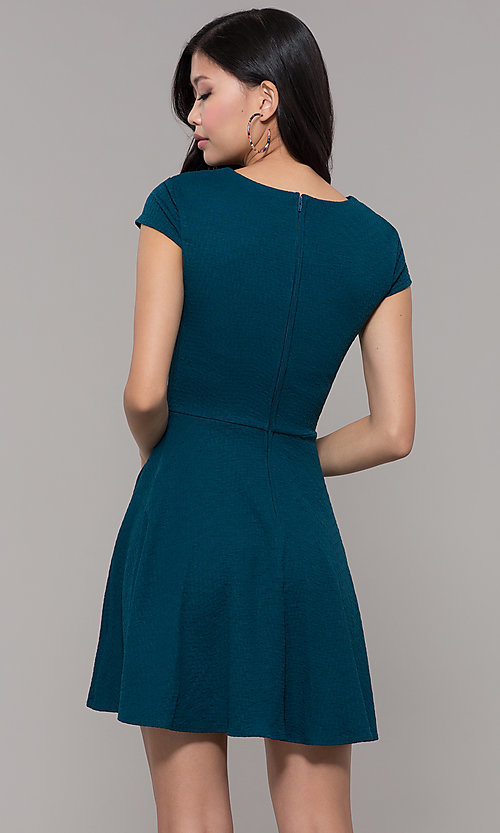 Image of cap sleeve short casual party dress.  Style: CT-1901SJ6BT1 Back Image