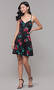 Image of short floral-print wedding guest dress with lace. Style: CT-7202TW1ET1 Detail Image 3