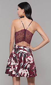 Image of wine red floral-print wedding-guest dress. Style: CT-7204TW1DT1 Back Image