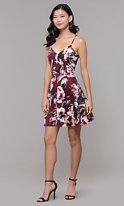 Image of wine red floral-print wedding-guest dress. Style: CT-7204TW1DT1 Detail Image 3