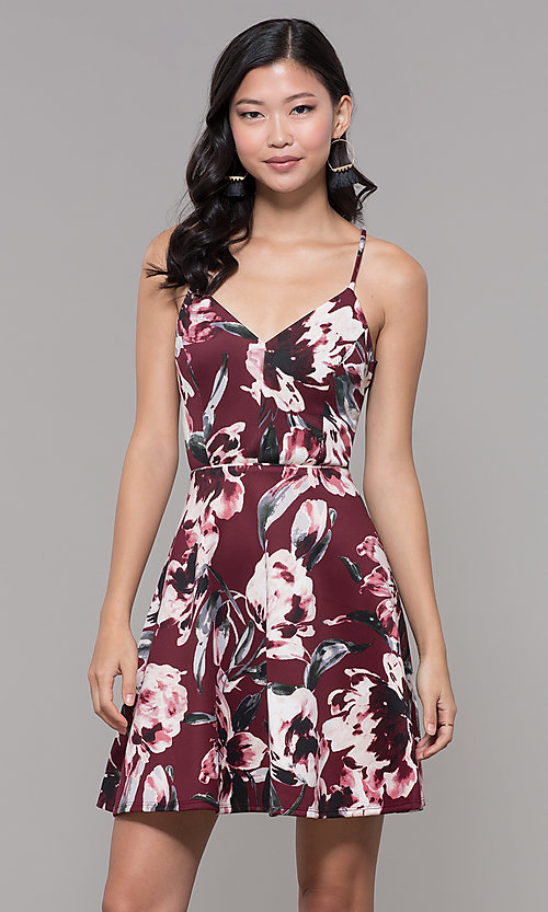 Image of wine red floral-print wedding-guest dress. Style: CT-7204TW1DT1 Front Image