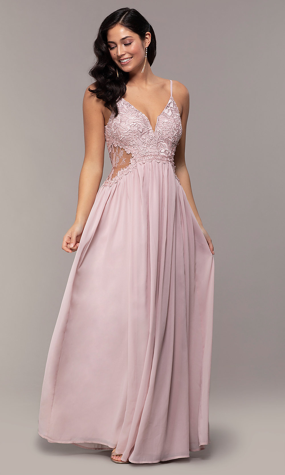 e2ace871e45 ... chiffon prom dress with v-neck lace bodice. Style  SOI. Tap to expand