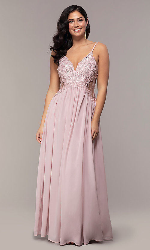 3668941dce8 Image of long chiffon prom dress with v-neck lace bodice. Style  SOI