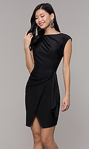 Image of short black wedding-guest dress with side drape. Style: SY-ID5980AP Front Image