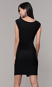 Image of short black wedding-guest dress with side drape. Style: SY-ID5980AP Back Image