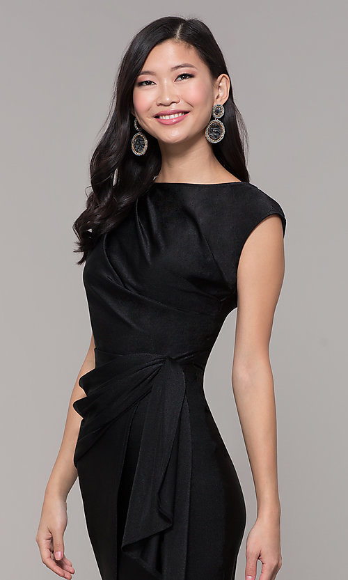 Image of short black wedding-guest dress with side drape. Style: SY-ID5980AP Detail Image 1