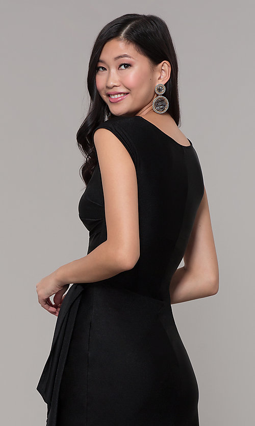 Image of short black wedding-guest dress with side drape. Style: SY-ID5980AP Detail Image 2