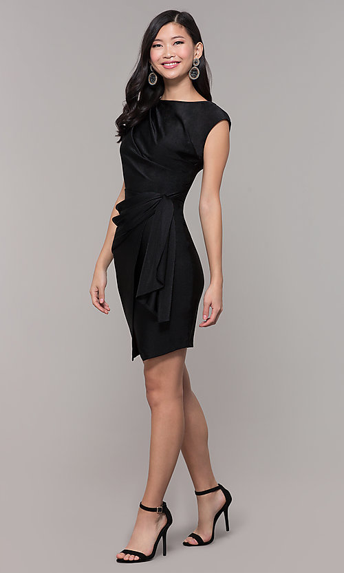 Image of short black wedding-guest dress with side drape. Style: SY-ID5980AP Detail Image 3