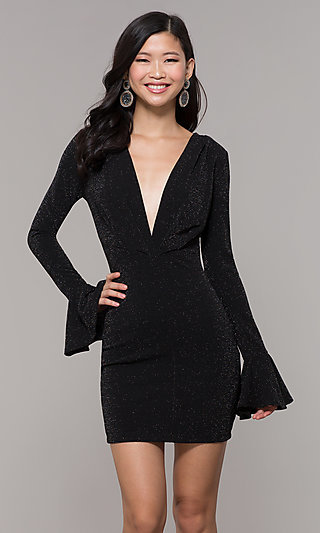 69a986a12ef Long-Sleeve Short Black Glitter Holiday Dress