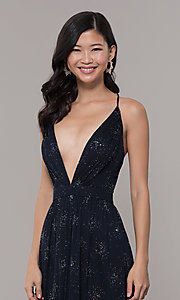 Image of backless eclipse blue formal glitter dress. Style: IT-AE-7135112 Detail Image 1