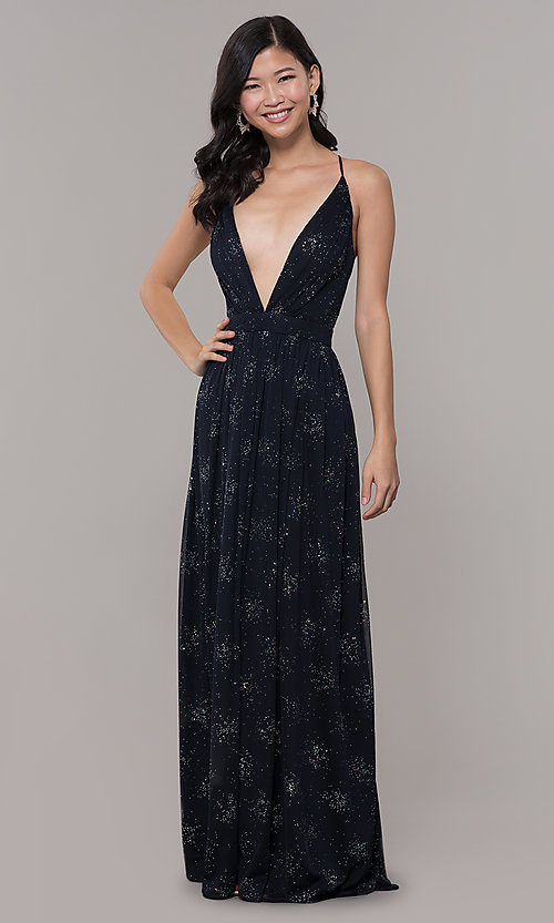 Image of backless eclipse blue formal glitter dress. Style: IT-AE-7135112 Front Image