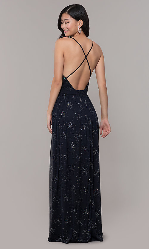 Image of backless eclipse blue formal glitter dress. Style: IT-AE-7135112 Back Image