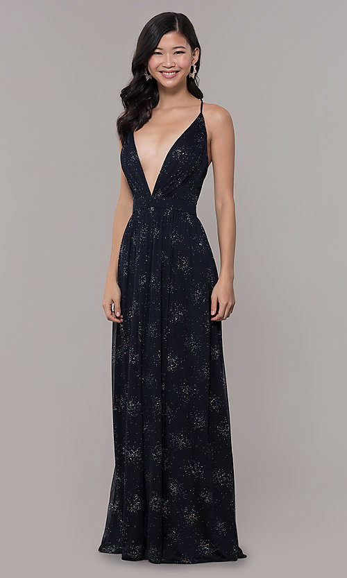 Image of backless eclipse blue formal glitter dress. Style: IT-AE-7135112 Detail Image 3