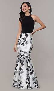 Image of black and white floral-print long formal dress. Style: IT-AE-7159187 Front Image