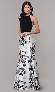 Image of black and white floral-print long formal dress. Style: IT-AE-7159187 Detail Image 3