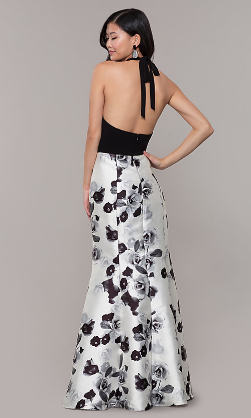 Image of black and white floral-print long formal dress. Style: IT-AE-7159187 Back Image