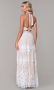 Image of high-neck halter white and nude long prom dress. Style: LUX-PL-LD5352 Back Image