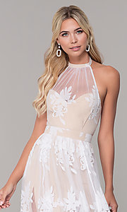 Image of high-neck halter white and nude long prom dress. Style: LUX-PL-LD5352 Detail Image 1