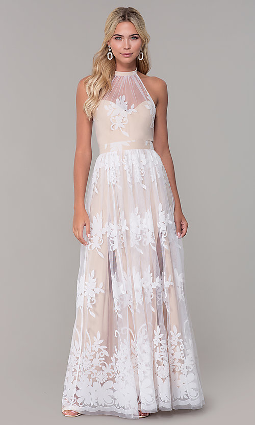 Image of high-neck halter white and nude long prom dress. Style: LUX-PL-LD5352 Front Image