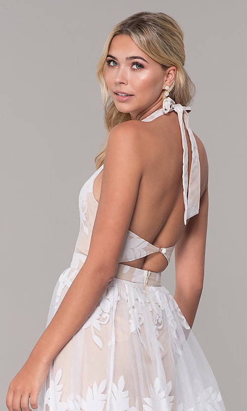 Image of high-neck halter white and nude long prom dress. Style: LUX-PL-LD5352 Detail Image 2